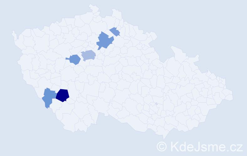 Příjmení: 'Čakrt', počet výskytů 23 v celé ČR