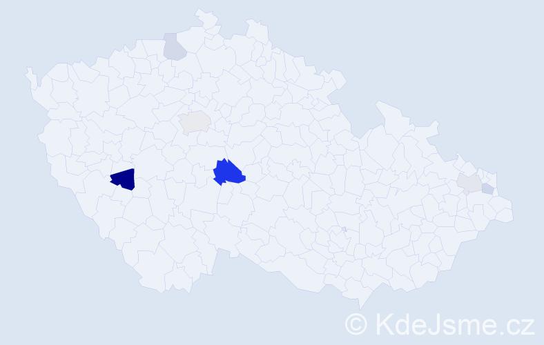 Příjmení: 'Kasalíková', počet výskytů 10 v celé ČR