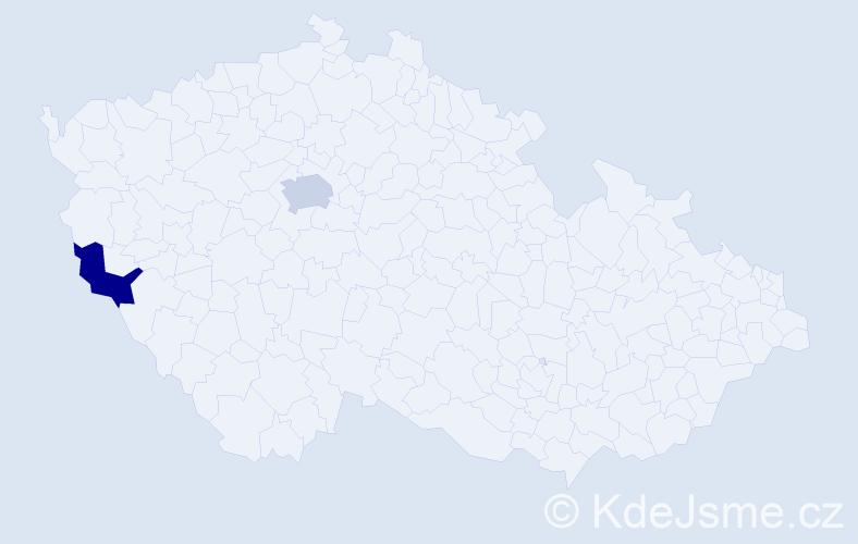 Příjmení: 'Dekr', počet výskytů 7 v celé ČR