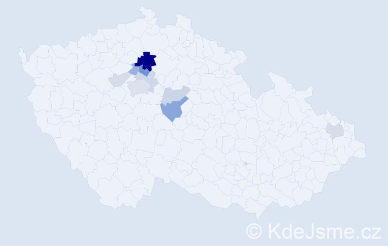 Příjmení: 'Hulicius', počet výskytů 23 v celé ČR