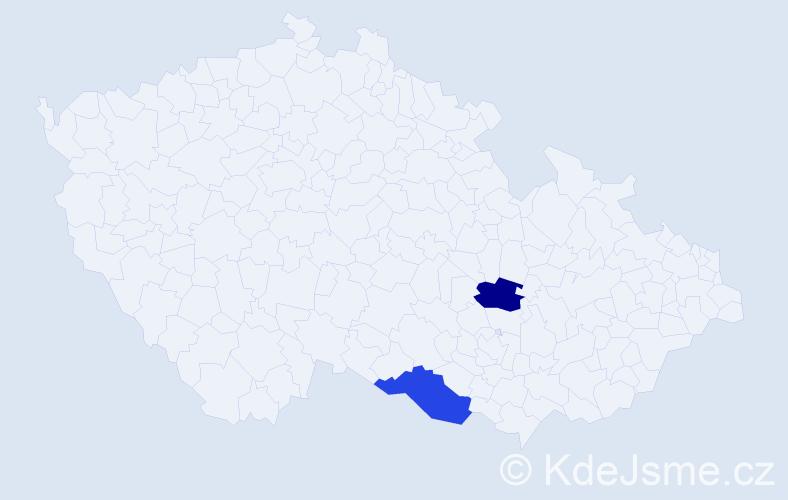 Příjmení: 'Horňa', počet výskytů 2 v celé ČR