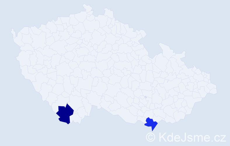Příjmení: 'Jankó', počet výskytů 4 v celé ČR