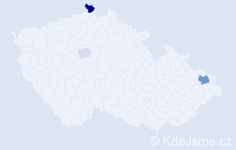 Příjmení: 'Jalloh', počet výskytů 4 v celé ČR