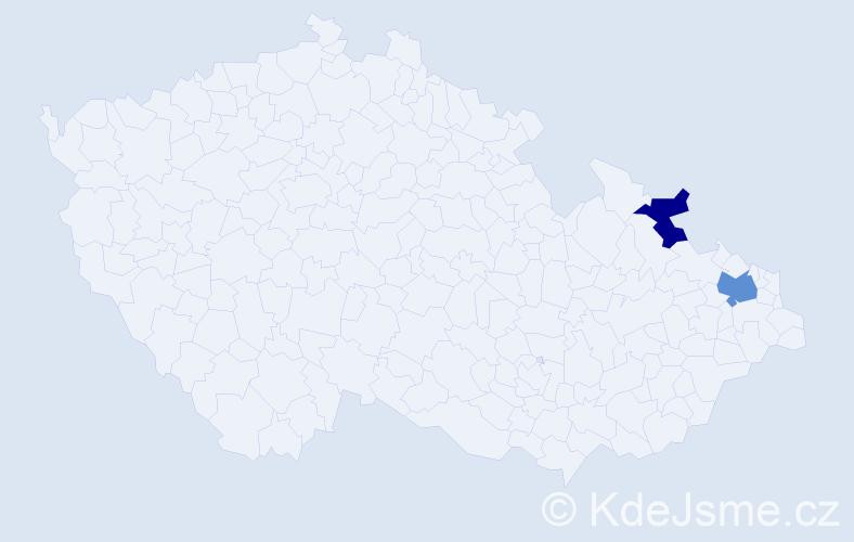 Příjmení: 'Decku', počet výskytů 3 v celé ČR