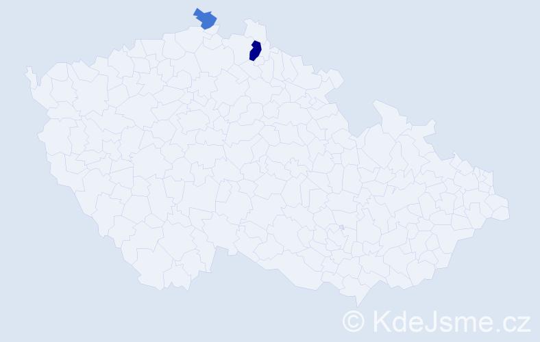 Příjmení: 'Hires', počet výskytů 4 v celé ČR