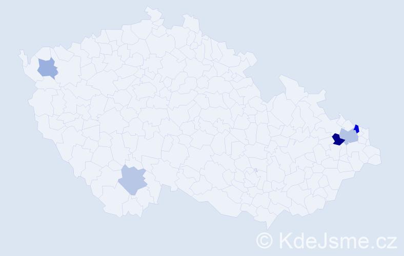 Příjmení: 'Čajdík', počet výskytů 8 v celé ČR