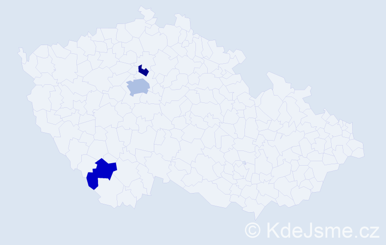 Příjmení: 'Handtová', počet výskytů 5 v celé ČR