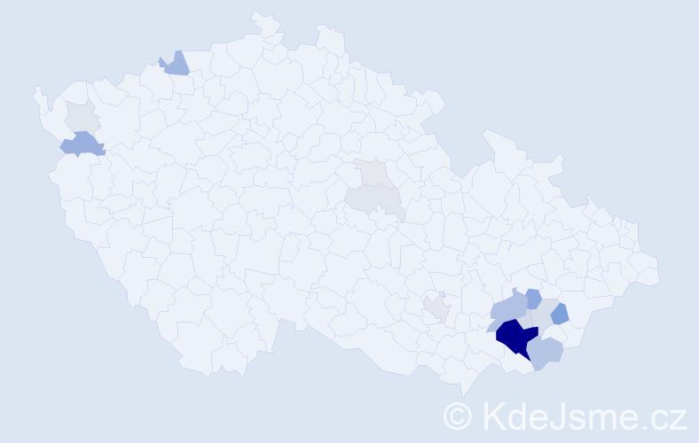 Příjmení: 'Katrňáková', počet výskytů 60 v celé ČR