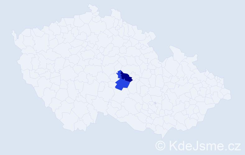 Příjmení: 'Hláčiková', počet výskytů 5 v celé ČR