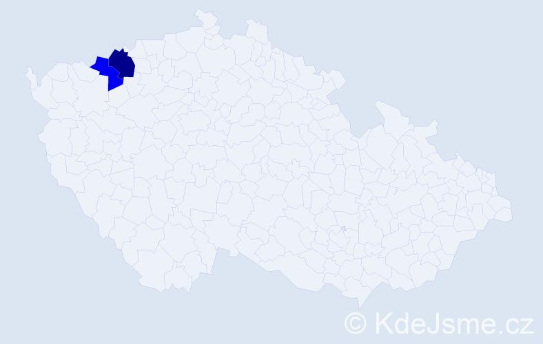 """Příjmení: '""""Čoka Teru""""', počet výskytů 3 v celé ČR"""