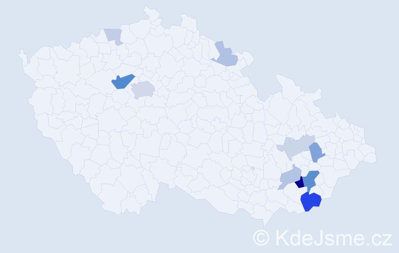 Příjmení: 'Jedek', počet výskytů 27 v celé ČR