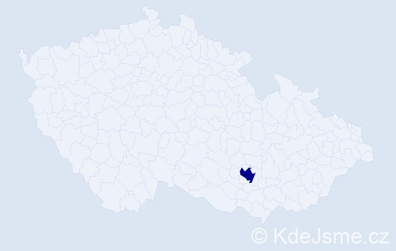 """Příjmení: '""""Kimová Kovaříková""""', počet výskytů 1 v celé ČR"""