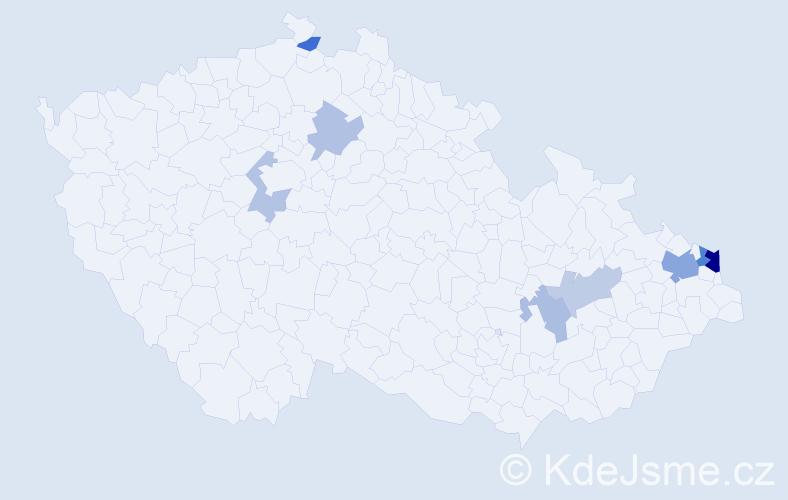 Příjmení: 'Kubisa', počet výskytů 17 v celé ČR