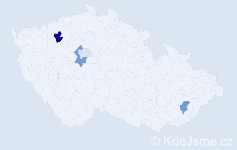 Příjmení: 'Bond', počet výskytů 4 v celé ČR