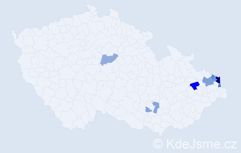 Příjmení: 'Čopjaková', počet výskytů 15 v celé ČR