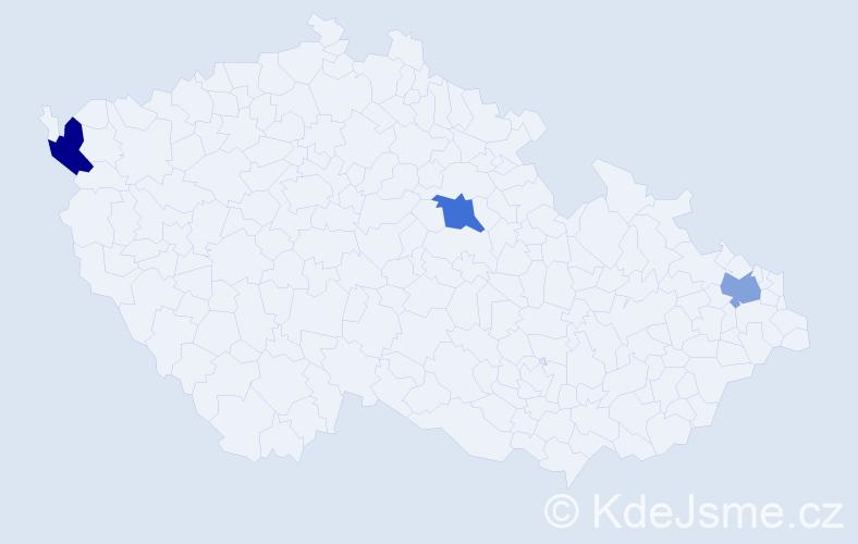 Příjmení: 'Čuliková', počet výskytů 3 v celé ČR