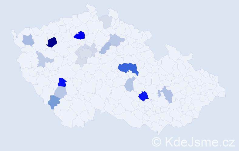 Příjmení: 'Čtverák', počet výskytů 41 v celé ČR
