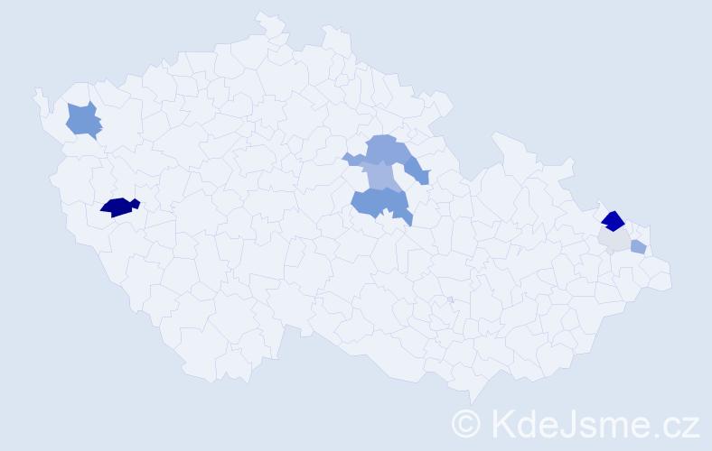 Příjmení: 'Čavajdová', počet výskytů 23 v celé ČR