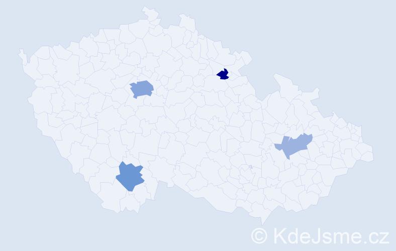 Příjmení: 'Jaber', počet výskytů 12 v celé ČR