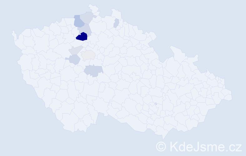Příjmení: 'Kekule', počet výskytů 19 v celé ČR
