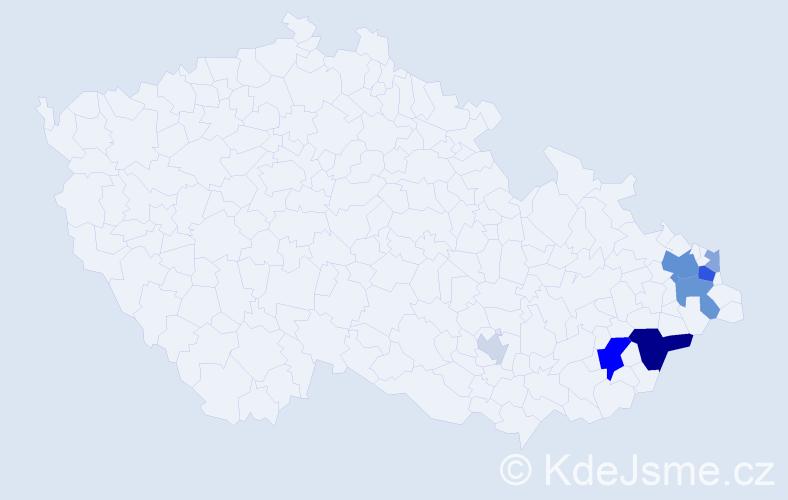 Příjmení: 'Cunda', počet výskytů 20 v celé ČR