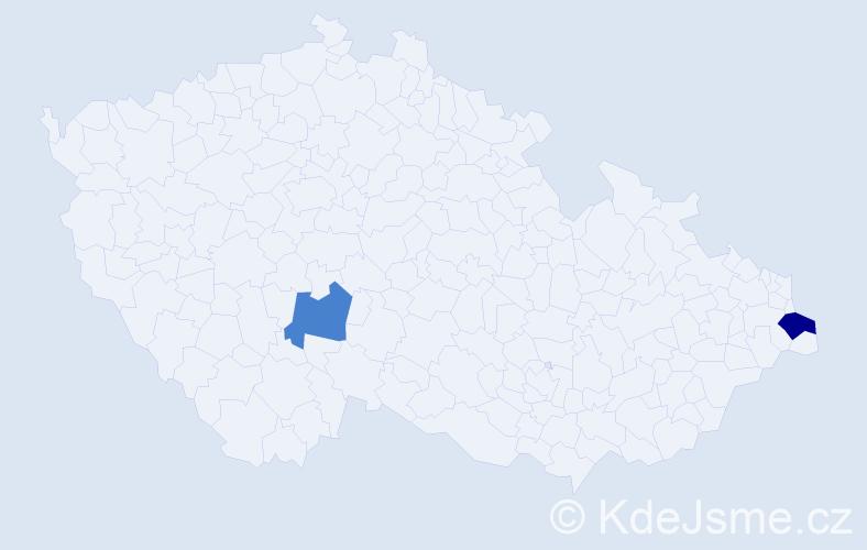 Příjmení: 'Jadviszczoková', počet výskytů 5 v celé ČR