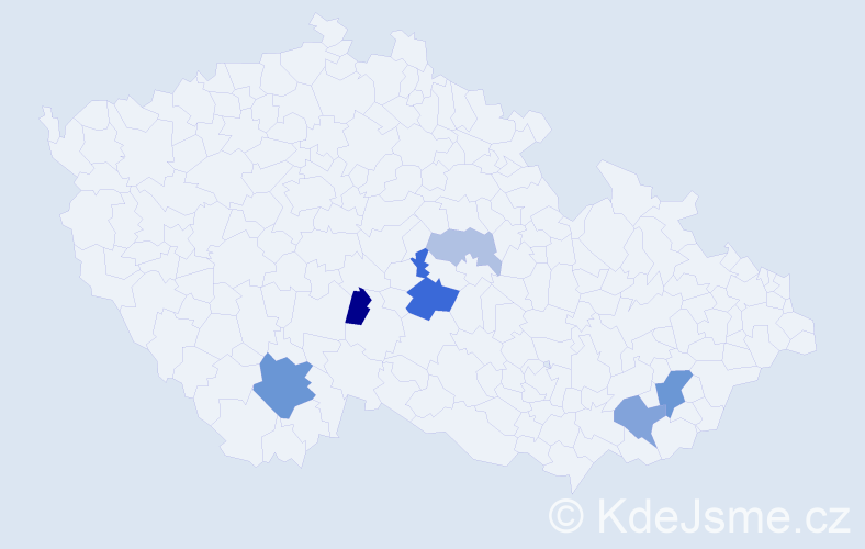 Příjmení: 'Kerbr', počet výskytů 14 v celé ČR