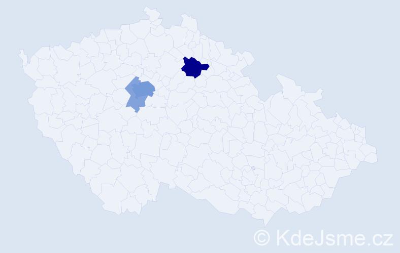 Příjmení: 'Daušová', počet výskytů 12 v celé ČR