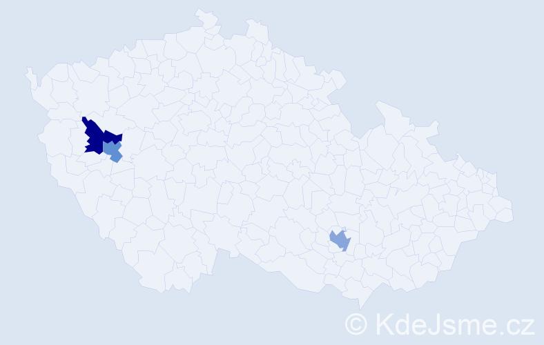 Příjmení: 'Chládecká', počet výskytů 3 v celé ČR