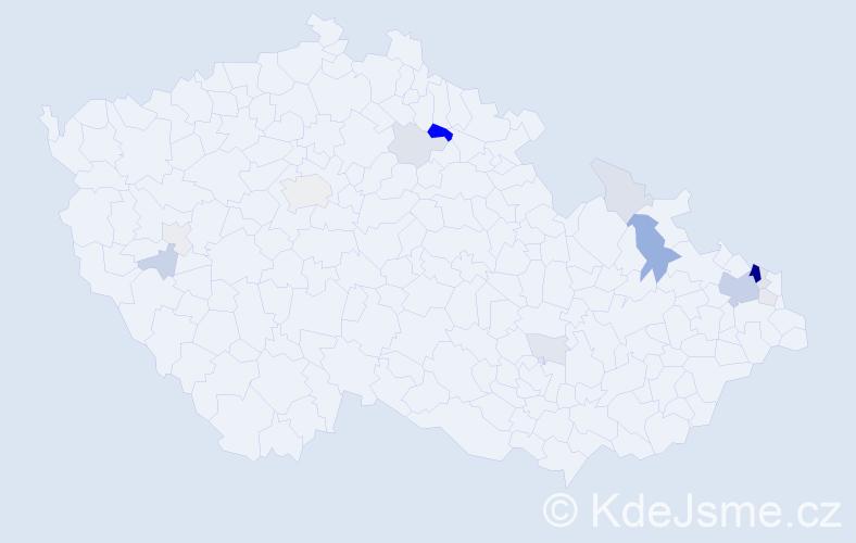 Příjmení: 'Dendis', počet výskytů 46 v celé ČR
