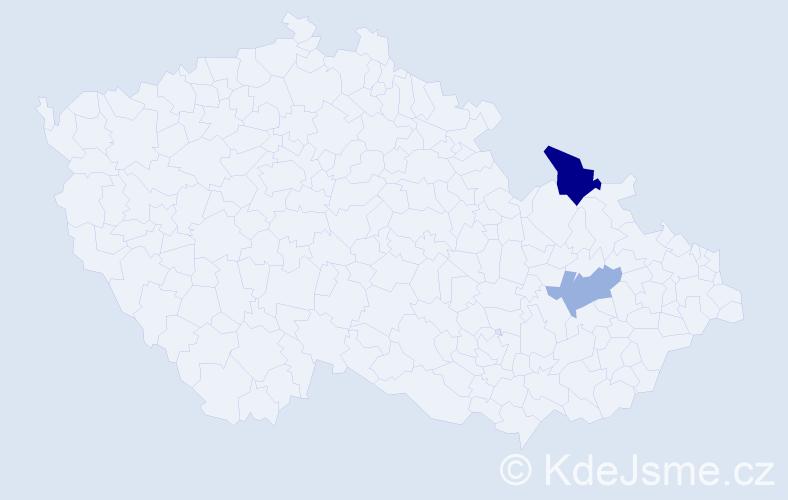 Příjmení: 'Kleineidam', počet výskytů 6 v celé ČR