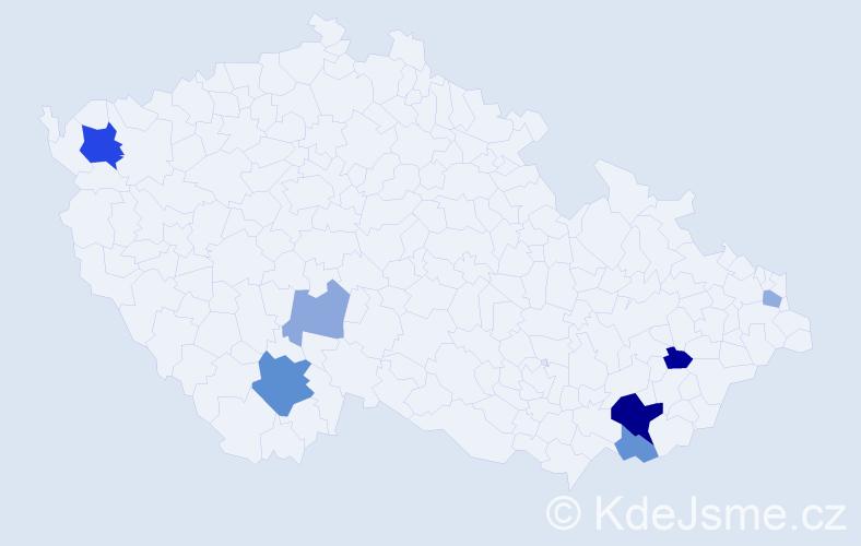 Příjmení: 'Grňáková', počet výskytů 15 v celé ČR