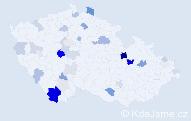 Příjmení: 'Haniš', počet výskytů 67 v celé ČR