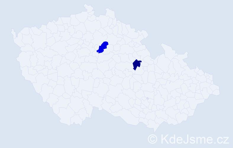 Příjmení: 'Csók', počet výskytů 4 v celé ČR