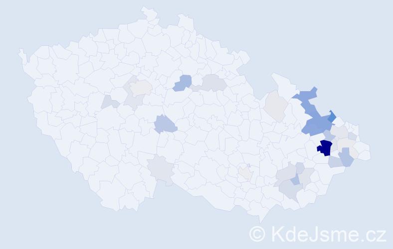 Příjmení: 'Býma', počet výskytů 107 v celé ČR