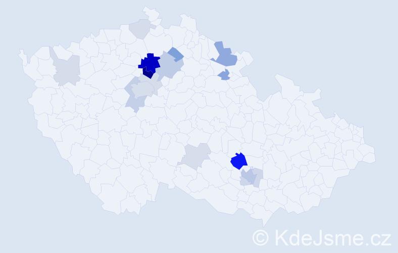 Příjmení: 'Bradáček', počet výskytů 49 v celé ČR