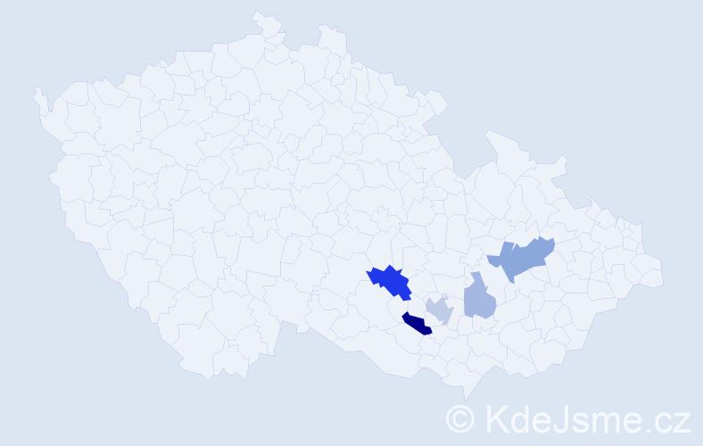 Příjmení: 'Inochovská', počet výskytů 13 v celé ČR