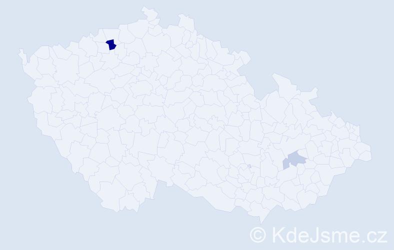 Příjmení: 'Bezoldová', počet výskytů 4 v celé ČR