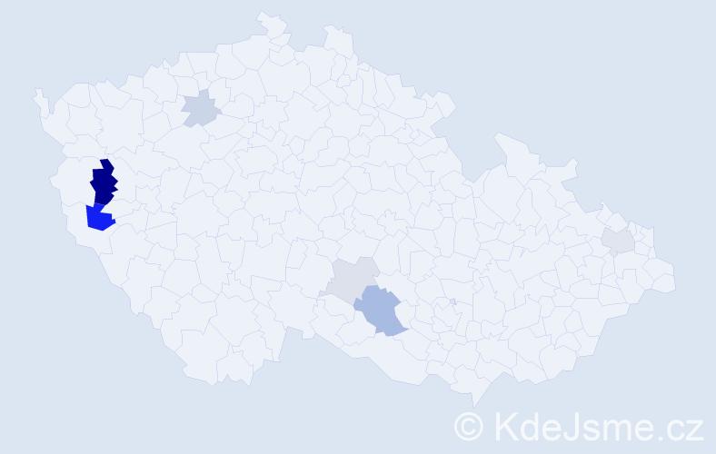 Příjmení: 'Bacherová', počet výskytů 15 v celé ČR
