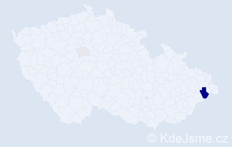 Příjmení: 'Černiák', počet výskytů 5 v celé ČR