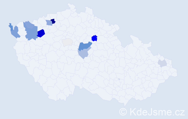 Příjmení: 'Fedaková', počet výskytů 24 v celé ČR