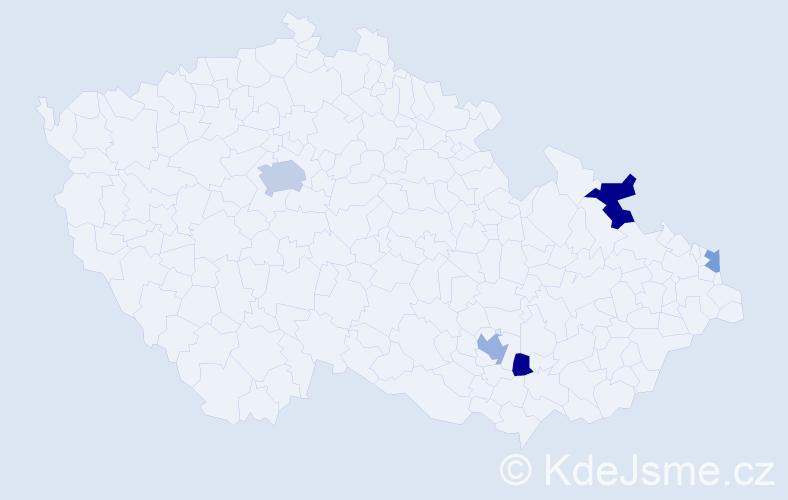 Příjmení: 'Eftimiadu', počet výskytů 9 v celé ČR