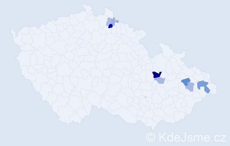Příjmení: 'Hopjáková', počet výskytů 23 v celé ČR