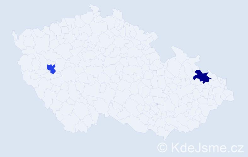 Příjmení: 'Izsmánová', počet výskytů 2 v celé ČR