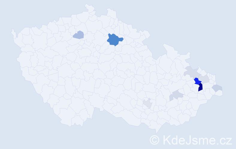 Příjmení: 'Bársony', počet výskytů 26 v celé ČR