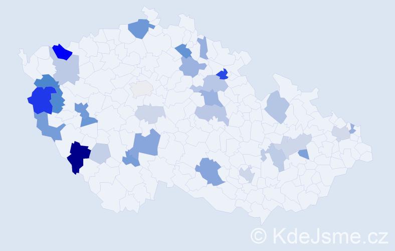 Příjmení: 'Koki', počet výskytů 92 v celé ČR