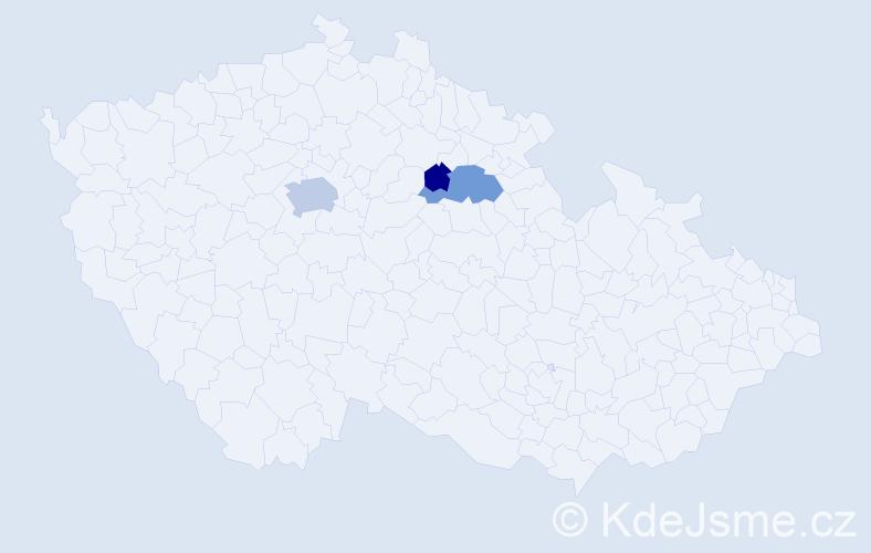 Příjmení: 'Kaloušková', počet výskytů 7 v celé ČR