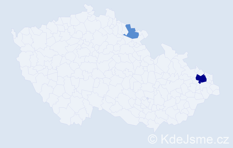 Příjmení: 'Gajcová', počet výskytů 8 v celé ČR
