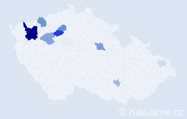 Příjmení: 'Hančáková', počet výskytů 19 v celé ČR