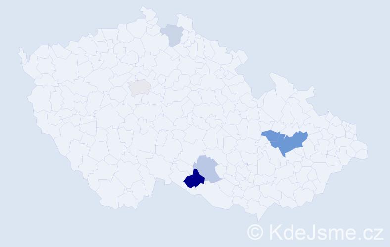 Příjmení: 'Čamachová', počet výskytů 13 v celé ČR